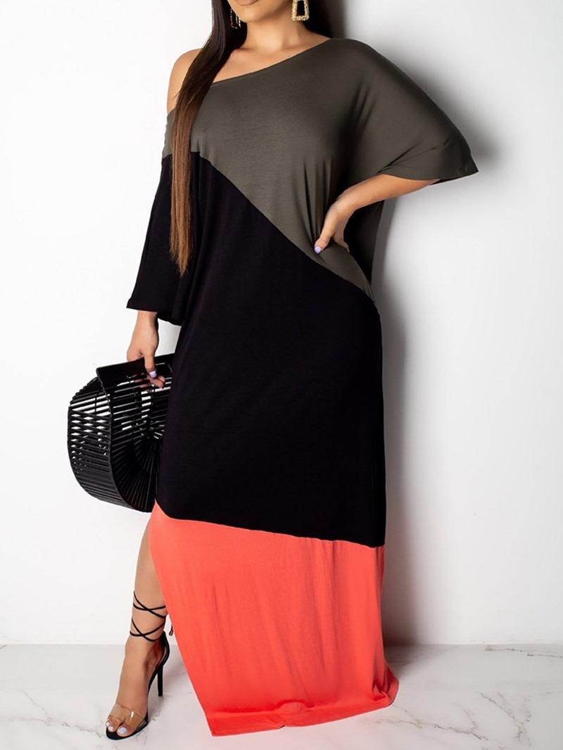 Ericdress Patchwork Color Block Floor-Length Regular Pullover Dress