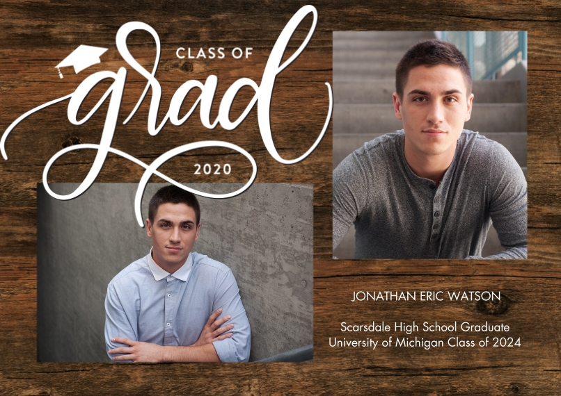 2020 Graduation Announcements 5x7 Cards, Premium Cardstock 120lb with Scalloped Corners, Card & Stationery -Grad 2020 Simple Script by Tumbalina