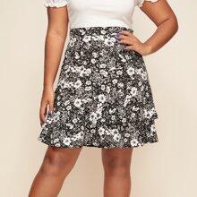 Plus Floral Print Layered Ruffle Hem Skirt
