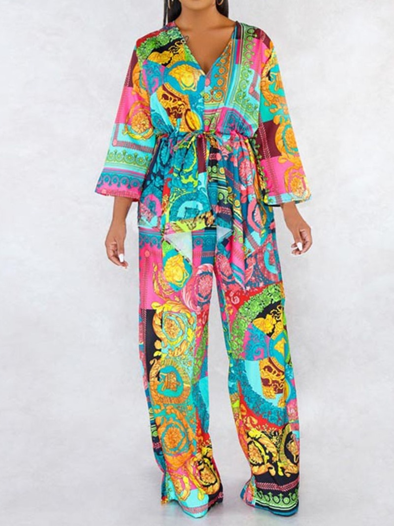 Ericdress Ethnic Color Block Wide Legs V-Neck Two Piece Sets