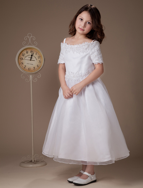 Milanoo Sweet A-line White Satin Tea-Length First Communion Dresses