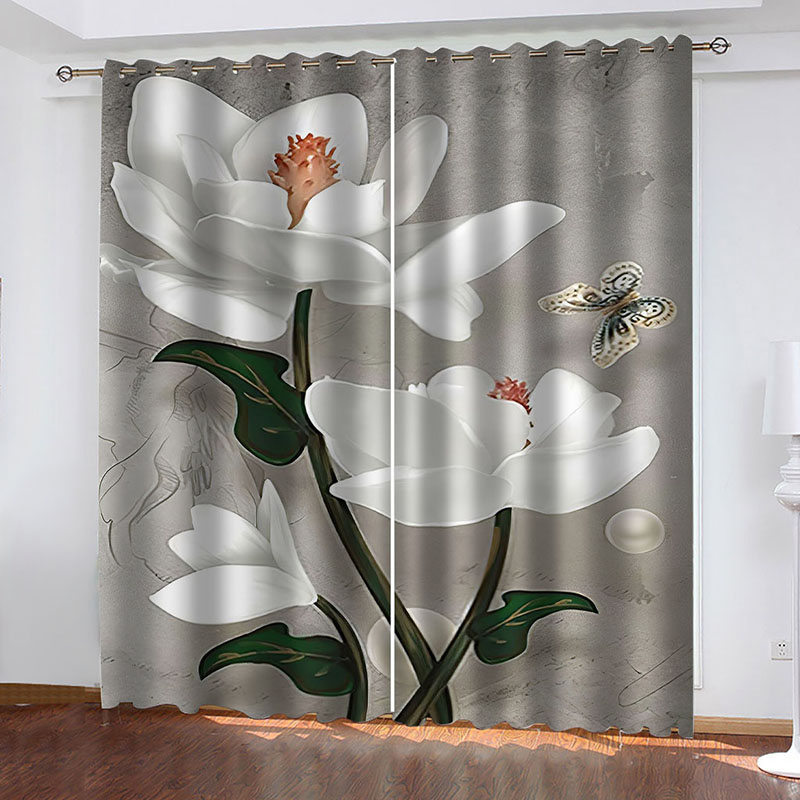 3D Vintage Floral Printed Decoration Blackout Window Curtains for Living Room Custom 2 Panels Drapes No Pilling No Fading No off-lining