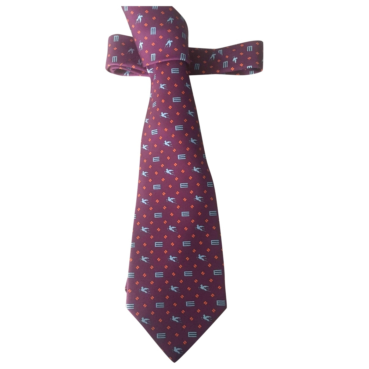 Etro \N Burgundy Silk Ties for Men \N