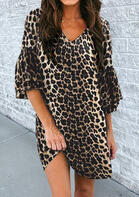 Leopard Ruffled Flare Sleeve Mini Dress without Necklace