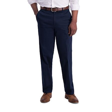 Haggar  Iron Free Premium Khaki Classic Fit Flat Front Pants, 40 32, Blue