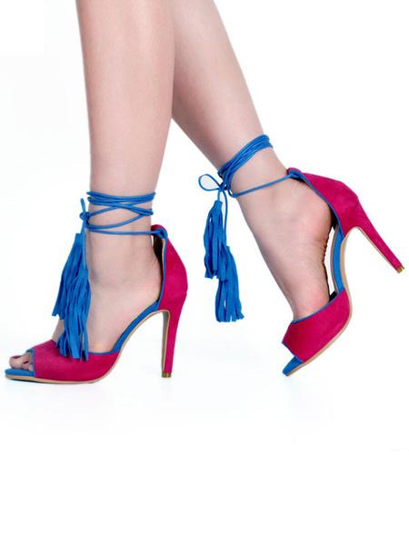 Milanoo High Heel Sandals Womens Peep Toe Lace Up Stiletto Heels Sandals with Tassels