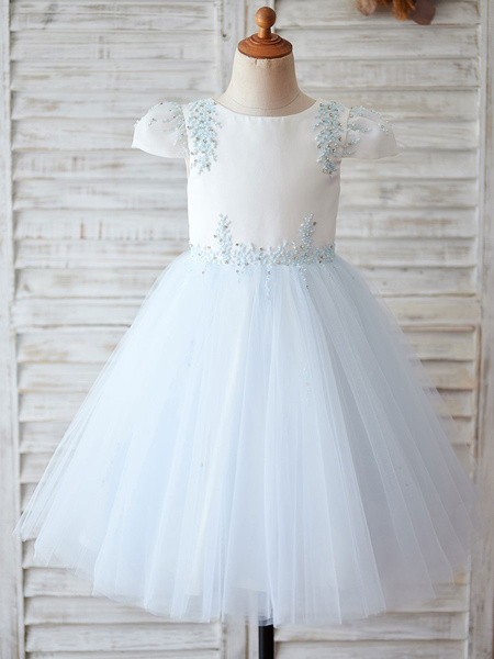 Milanoo Flower Girl Dresses Studded Short Sleeves Jewel Neck Baby Blue Kids Party Dresses