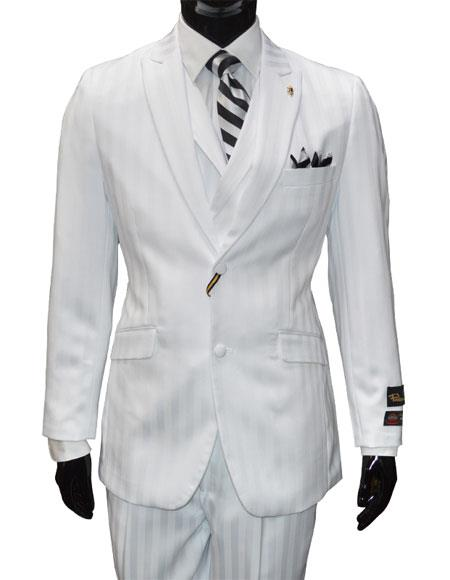 Falcone Mens Single Breasted 2Button Vested Striped White 3Piece Suit