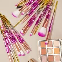 20pcs Fan Shaped Gradient Handle Makeup Brush Set