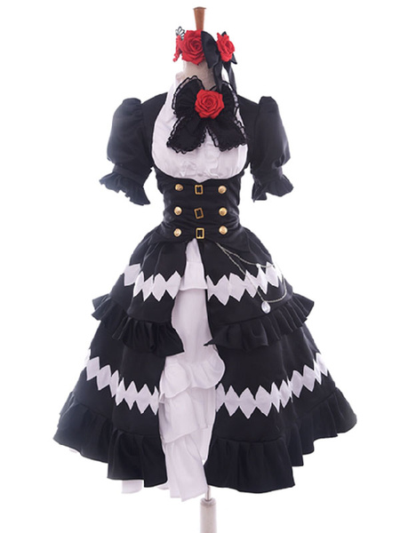 Milanoo Date A Live Tokisaki Kurumi Halloween Cosplay Costume Gothic Lolita Dress 5 Years Ago Version