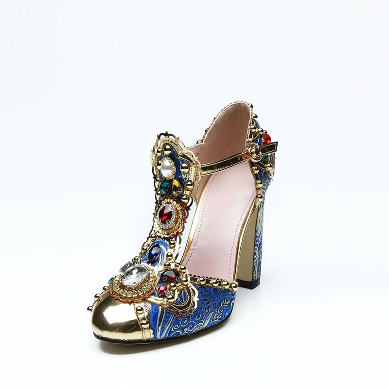 Ericdress Luxrious Rhinestone Beads Chunky Heel Pumps