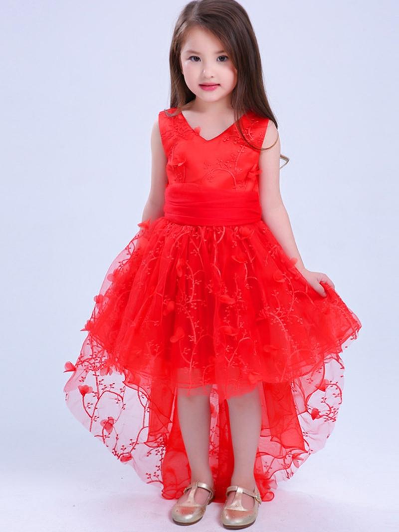 Ericdress Floral 3D Print Swallowtail Girls' Princess Dress