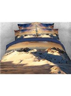 Mountain Snow Landscape 3D Autumn/Winter Duvet Cover Set 4-Piece Scenery Bedding Sets