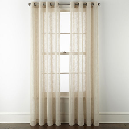 Linden Street Brooke Sheer Grommet-Top Single Curtain Panel, One Size , Brown