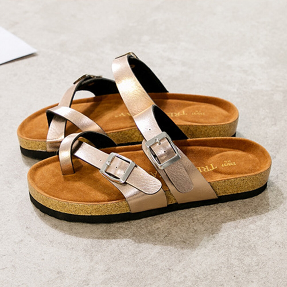 plus Size Women Casual Beach Thump Top Buckle Strap Soft Slippers
