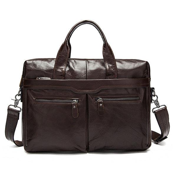Genuine Leather Business Casual Briefcase Single-shoulder Bag Handbag For Men