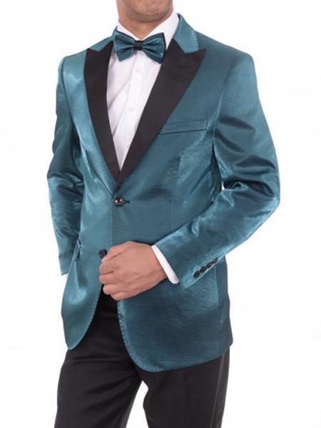 Men's 2 Button Slim Fit Peak Lapel Teal Sharkskin Blazer Sportcoat