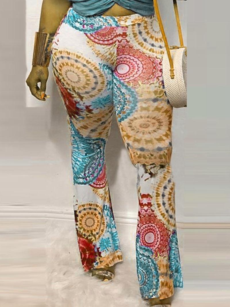 Ericdress Print Slim Full Length Bellbottoms Casual Pants