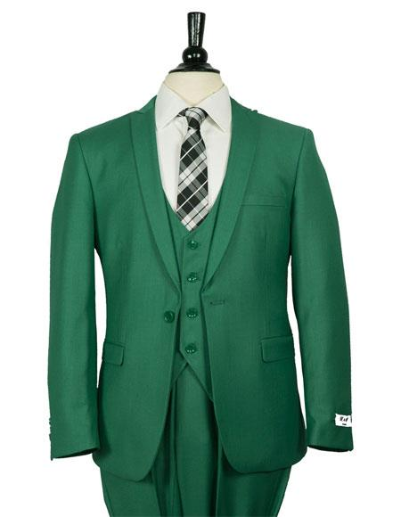 Men's Single Breasted 1 Button Dark Green Vested Suit