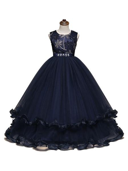 Milanoo Azul marino oscuro Vestidos de niña de flores 2020 Botones Sin mangas Cuello de joya Longitud del piso Vestidos para niños Vestidos