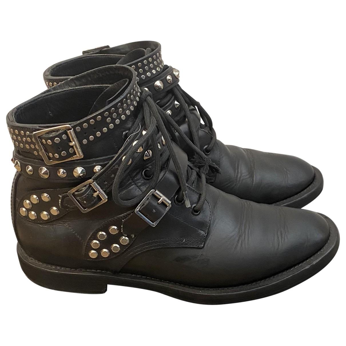 Saint Laurent \N Black Leather Ankle boots for Women 40.5 IT