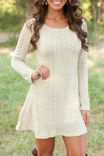 Yoins Beige See-through Ladies Style Cable Knit Mini Dress