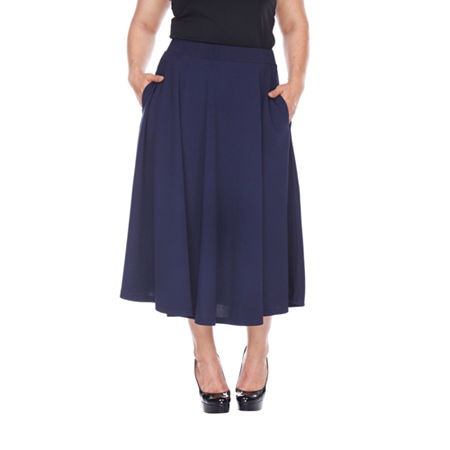White Mark Tasmin Womens Stretch Midi Flared Skirt-Plus, 3x , Blue