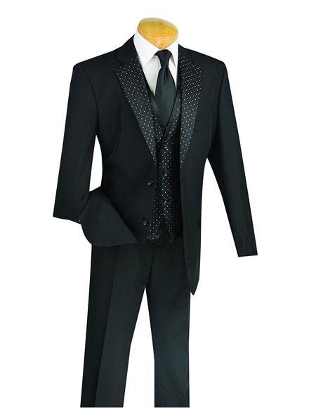 Mens Single Breasted 2Button ClassicFit 3Piece Black Vest Fashion Suit