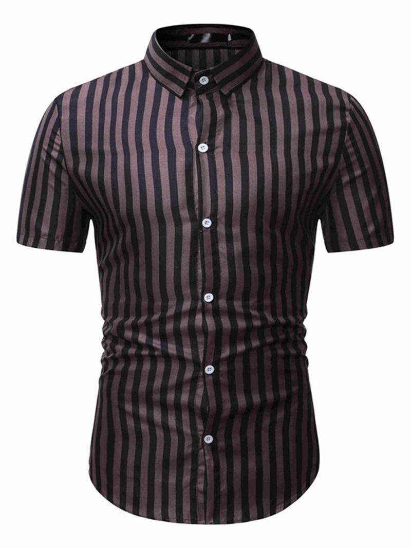 Ericdress Casual Stripe Lapel Slim Single-Breasted Shirt