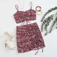 Drawstring Detail Tie Back Floral Cami Top & Skirt Set