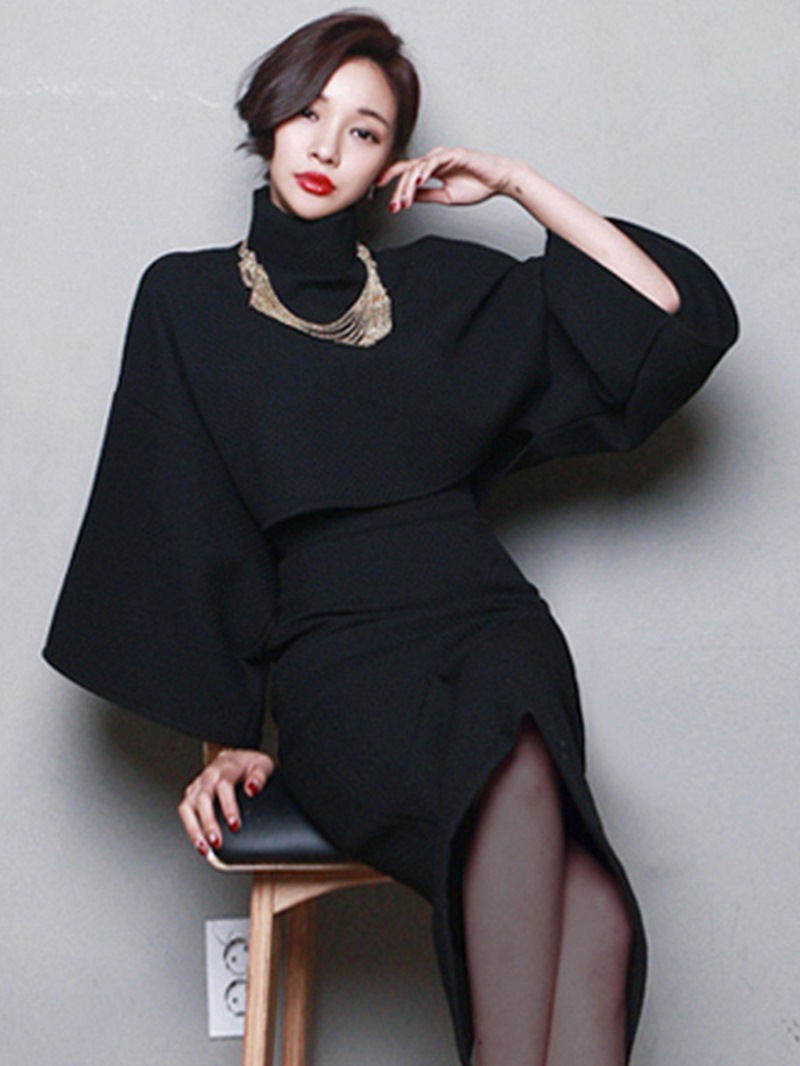 Ericdress Thick High Neck Pullover and Bodycon Skirt Women's Skirt Two Piece Set