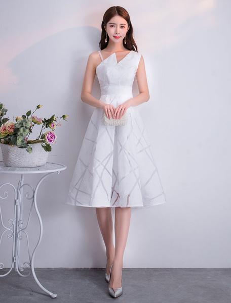 Milanoo Cocktail Dresses Daffodil Lace Short Sleeveless Asymmetrical Short Graduation Party Dress