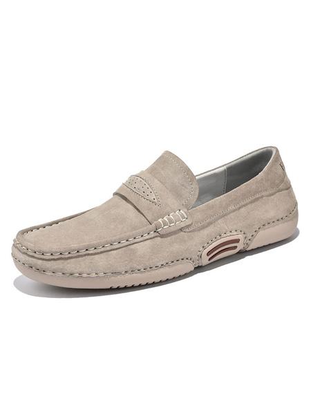 Milanoo Men\'s Loafer Shoes Slip-On Monk Strap Round Toe Pigskin Upper Men\'s Shoes