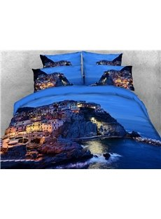 Seaside Island at Night 3D Scenery Comforter Soft Lightweight Warm 5-Piece Comforter Sets