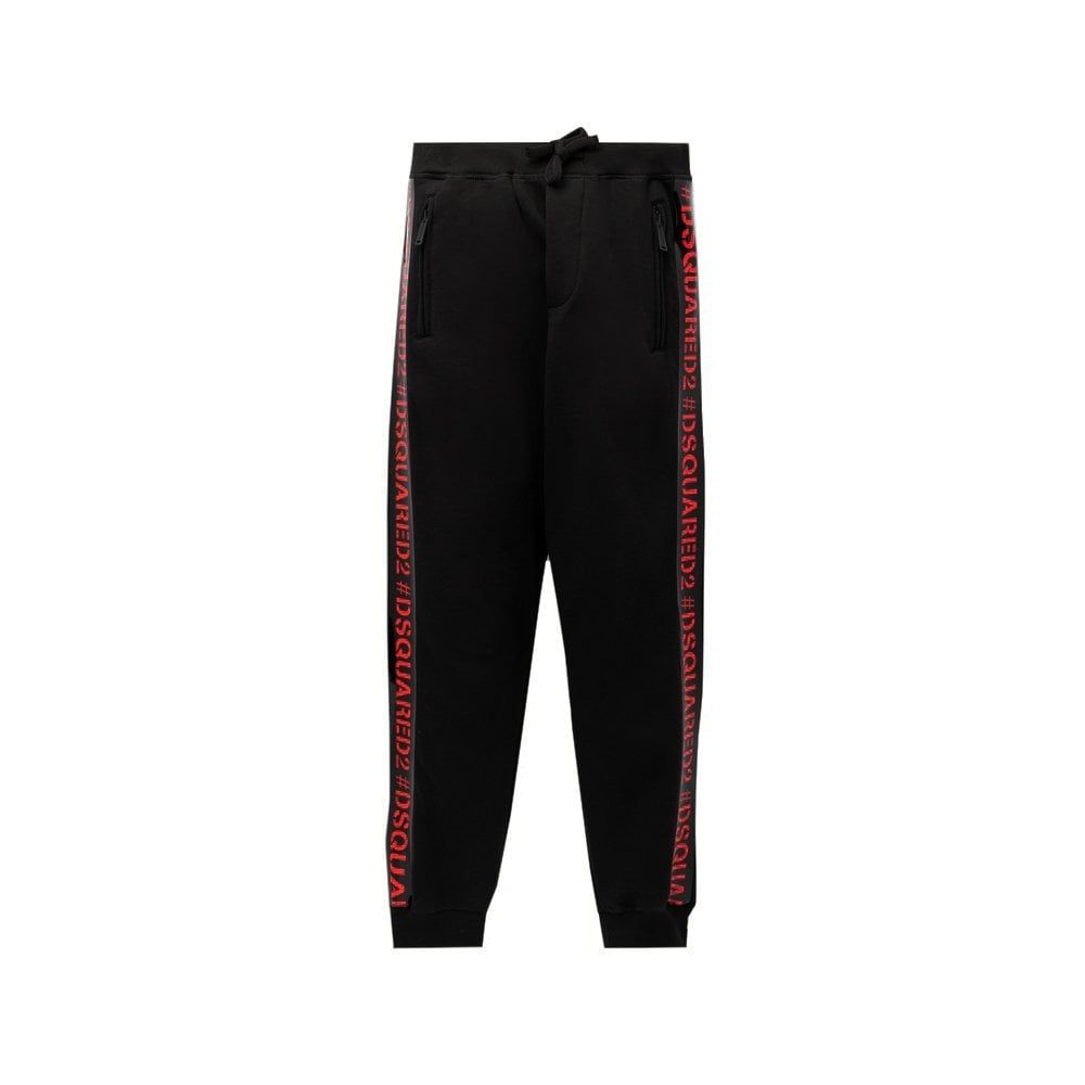 Dsquared2 Tape Logo Joggers Colour: BLACK, Size: 10 YEARS