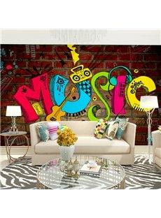 Unique Colorful Music Fashion Pattern Waterproof Decorative 3D Wall Murals