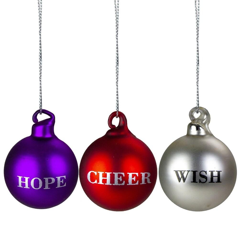 3 Purple, Red Silver Inspirational Christmas Ball Ornament Set 2.5