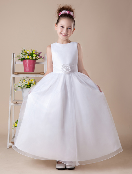 Milanoo Lovely A-line White Satin Ankle-Length First Communion Dress