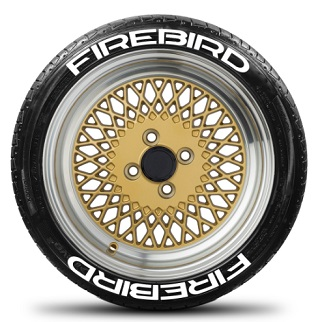 Tire Stickers FIREBIRD-1718-1-8-Y Permanent Raised Rubber Lettering 'Firebird' Logo - 8 of each -  17
