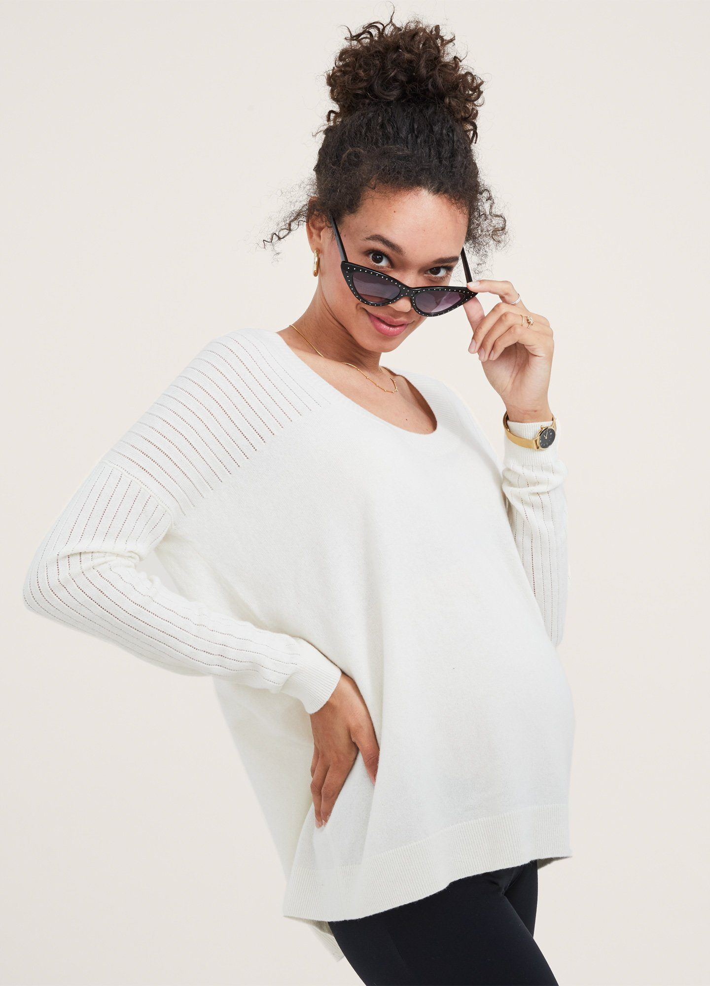 HATCH Maternity The Layering U-Neck Sweater, ivory, Size 1