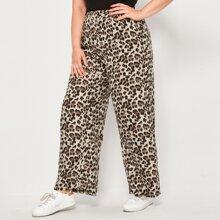 Plus Leopard Print Wide Leg Pants