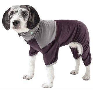Pet Life ® Active 'Embarker' Heathered Performance 4-Way Stretch Two-Toned Full Body Warm Up (brown - SMALL)