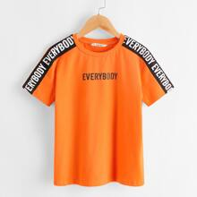 Boys Contrast Sideseam Letter Graphic Top