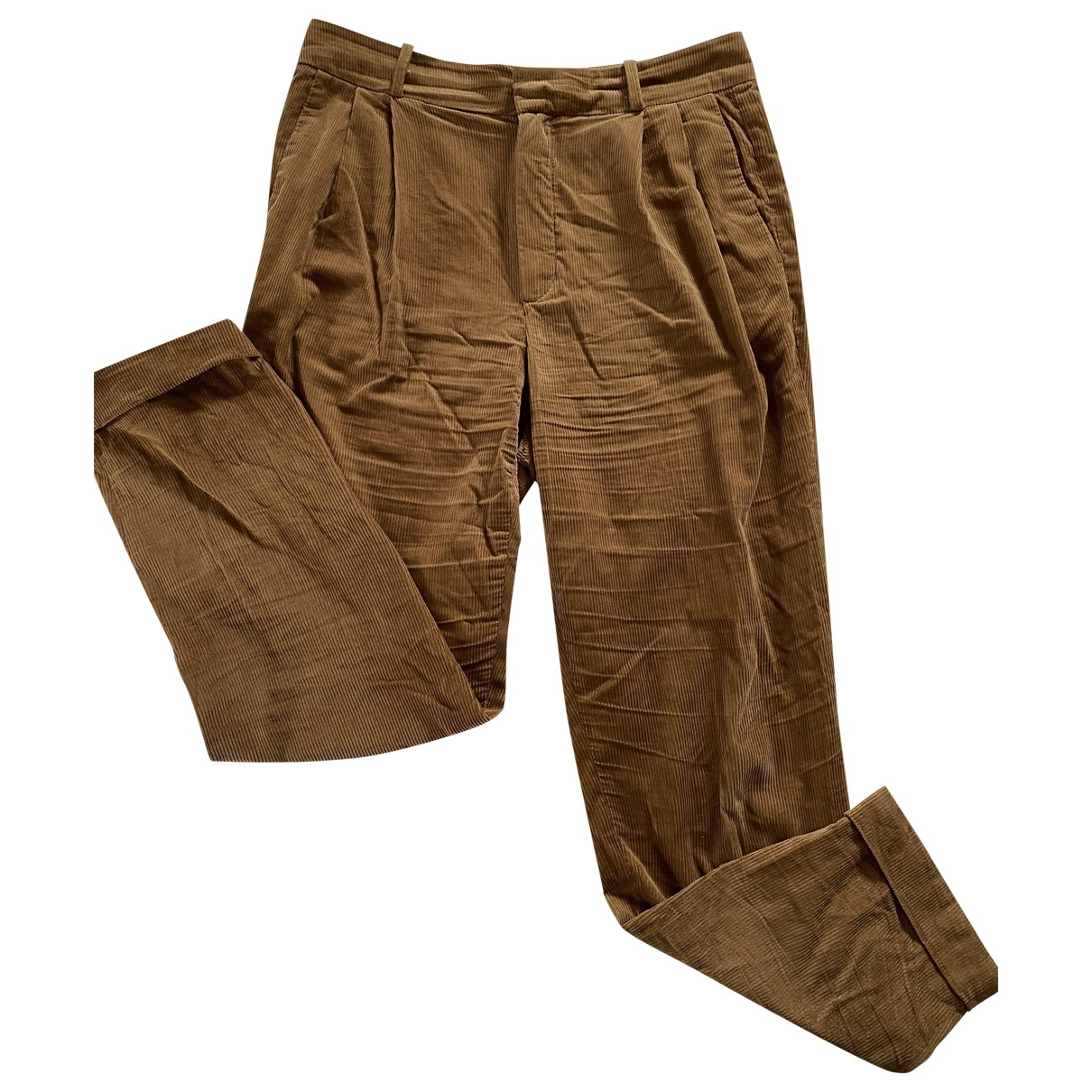 Massimo Dutti \N Brown Cotton Trousers for Women 40 FR