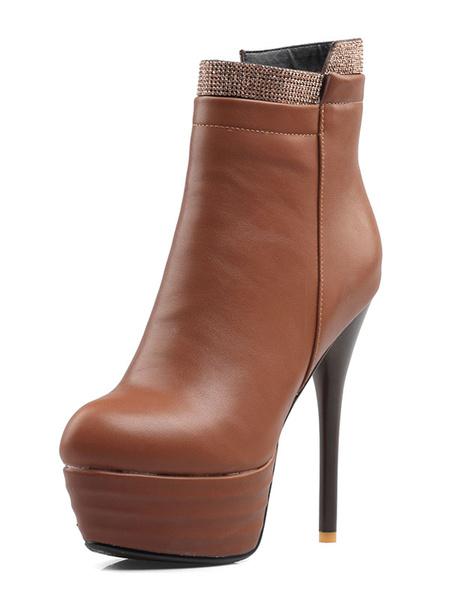 Milanoo High Heel Booties Platform Red Rhinestones Zip Up Ankle Boots For Women