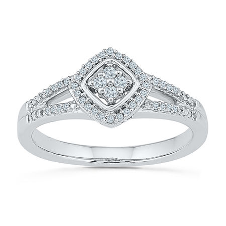 Promise My Love Womens 1/6 CT. T.W. Genuine White Diamond Sterling Silver Round Promise Ring, 5 , No Color Family