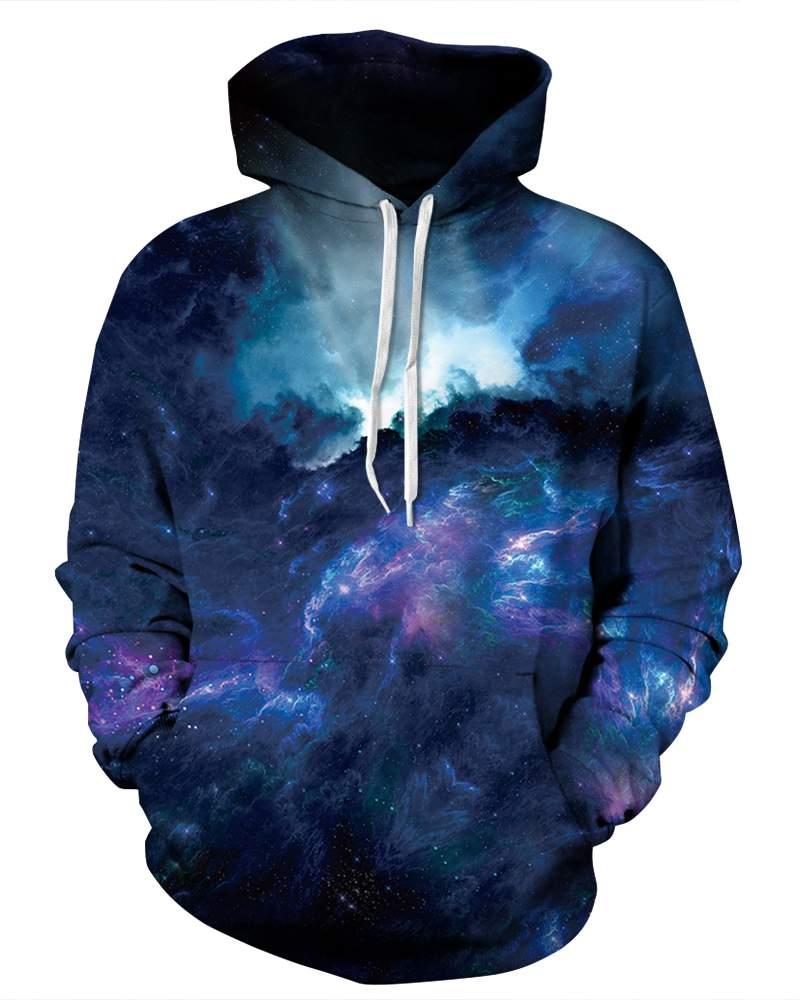 Long Sleeve Galaxy Style Dark Blue Clouds Pattern 3D Painted Hoodie