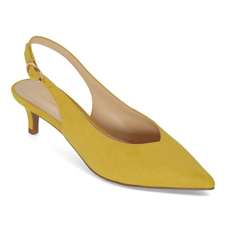 Liz Claiborne Womens Quebec Buckle Pointed Toe Kitten Heel Pumps, 7 1/2 Medium, Yellow
