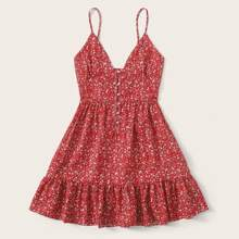 Ditsy Floral Pearls Button Ruffle Hem Cami Dress