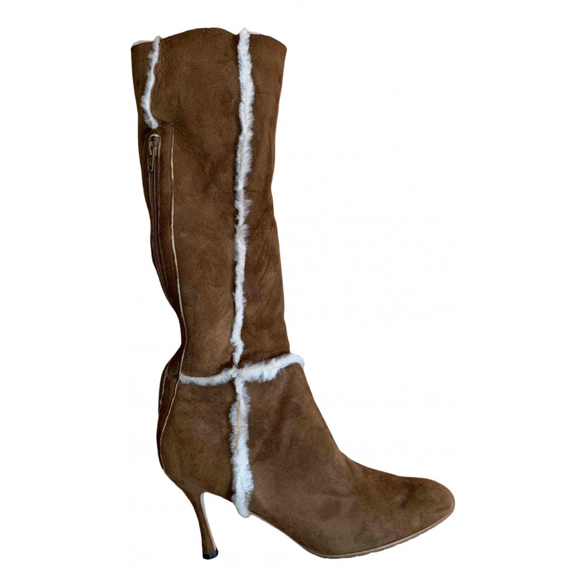 Manolo Blahnik \N Camel Shearling Boots for Women 39 EU